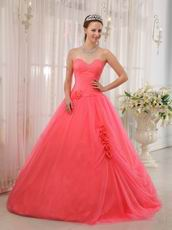 Cute Girl Water melon Quinceanera Dress With Handmade Flower