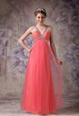 Cheap V-neck Watermelon Chiffon Dress For 2014 Prom Wear