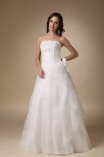 Basque Waist Floor-length White Organza Prom Dress