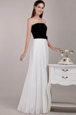 Black and White Strapless Chiffon Skirt Prom Dress For Discount