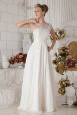 Affordable Wide One Shoulder Strap Ivory Prom Dresses With Lace