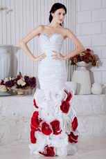 2013 New Style White Prom Dress With Flowers Mermaid Skirt