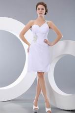 Affordable White Chiffon Short Dress For Graduation