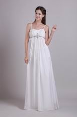 Best Spaghetti Straps White Chiffon Evening Dress
