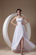 Beautiful Strapless Side Split Skirt White Prom Dress For Sale
