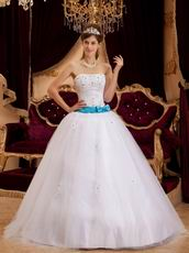 Appliqued White Tulle Strapless Quinceanera Dress For Cheap