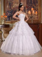 Sweet Heart Ruffles Skirt Lace Up Back White Quinceanera Dress