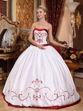 2012 Classical Style White Quinceanera Dress With Wine Red Details