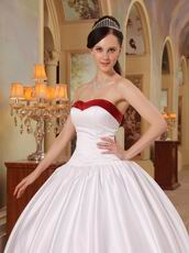 Simple Sweetheart White Military Dress With Wine Red Bordure