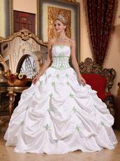 2013 Strapless White Quinceanera Dress With Spring Green