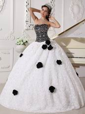 Black Sequin Fabric Rolled Fabric Flowers Skirt Quinceanera Dress