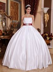 Wine Red Bowknot Design Simple White Quinceanera Dress