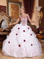 Off Shoulder White Quinceanera Dress With Wine Red Flower
