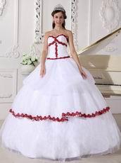 Wine Red Details Dama Quinceanera Dress In White