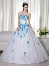 Aqua Applique Details White Fashionable Quinceanera Dress