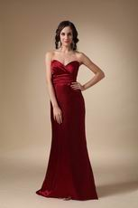 Sweetheart Column Wine Red Long Prom Dress Petite