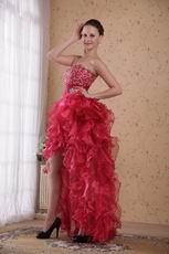 High-low Design Carmine Red Prom 2014 Dress Discount