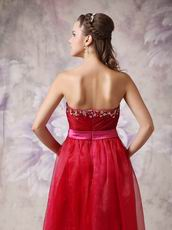 2012 Wine Red Organza Prom Dresses Online Sale