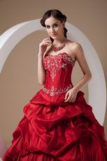Embroidered Wine Red Floor-length Skirt Prom Ball Gown
