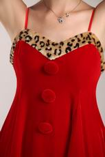 Spaghetti Straps Red Prom Dress With Leopard Print For Christmas Day