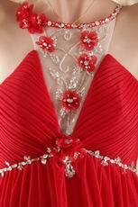 Scoop Neckline Red Chiffon Beaded Prom Dress Cheap