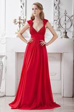 Deep V-Neck Wine Red Designer Pageant Evening Dress