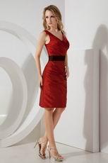 Wine Red V-Neck Black Belt Homecoming Dress Discount