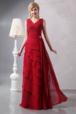 Decent Layers Cascade Skirt Side Draped Wine Red Sale Prom Dress
