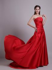 A-line Fishtail Scarlet Celebrity Dress Design With Embroidery