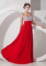 Beaded Scarlet Designer Evening Party Dress With Double Straps