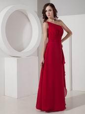 One Shoulder Wine Red Bridesmaid Dress Floor Length Skirt