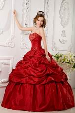 Wine Red Puffy Dress Girls Quinceanera Party Best Choice