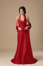 Discount Classical Wine Red Evening Dresses With Cappa
