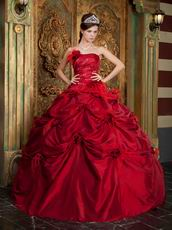 Strapless Wine Red Dress to Quinceanera With Feather Flowers