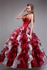 Wine Red Quinceanera Dress With Halter Ruffles Puffy Skirt