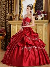 Bubble Designer Ball Skirt Wine Red Taffeta Quinceanera Gown