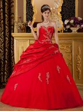 Dark Red Applique Emberllish Quinceanera Dress Custom Made