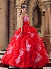 Interphase Pink And Scarlet Ruffles Skirt Dress Quinceanera Party