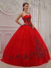 Trimed Dark Red Sweetheart A-line Quinceanera Outfits