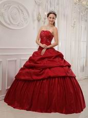 Simple Wine Red Puffy Skirt Quinceanera Dress Customized