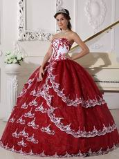 Strapless Wine Red Puffy Quinceanera Gown With Lace Decorate