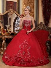 Not Expensive Wine Red Quinceanera Dress With Embroidery