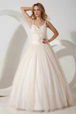 Wonderful Spaghetti Straps Appliques Sequin Western Wedding Dress