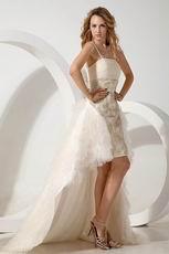 Spaghetti Straps Asymmetrical Layers Champagne Wedding Gowns