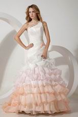 One Shoulder Fading Color Mermaid Layers Ruffles Wedding Dress