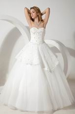 Luxurious Crystal Emberllish Floor Length Lace Wedding Dress Puffy