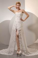Unique Sweetheart Flowers Asymmetrical Split Outdoor Bride Dress