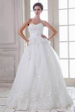 Beautiful Sweetheart Appliqued Edge White Wedding Dress Online