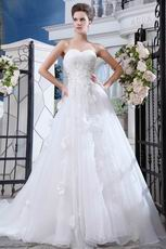 Pretty Appliqued Bodcie White Organza Cathedral Train Bridal Dress
