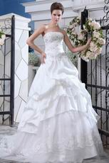 Beautiful Strapless Appliqued Wedding Gown With Beaded Decorate